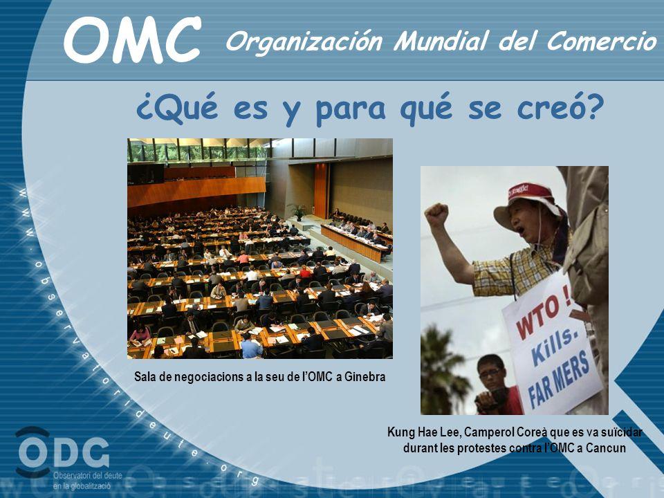 OMC ¿Qué es y para qué se creó? Organización Mundial del Comercio Kung Hae Lee, Camperol Coreà que es va suïcidar durant les protestes contra lOMC a C