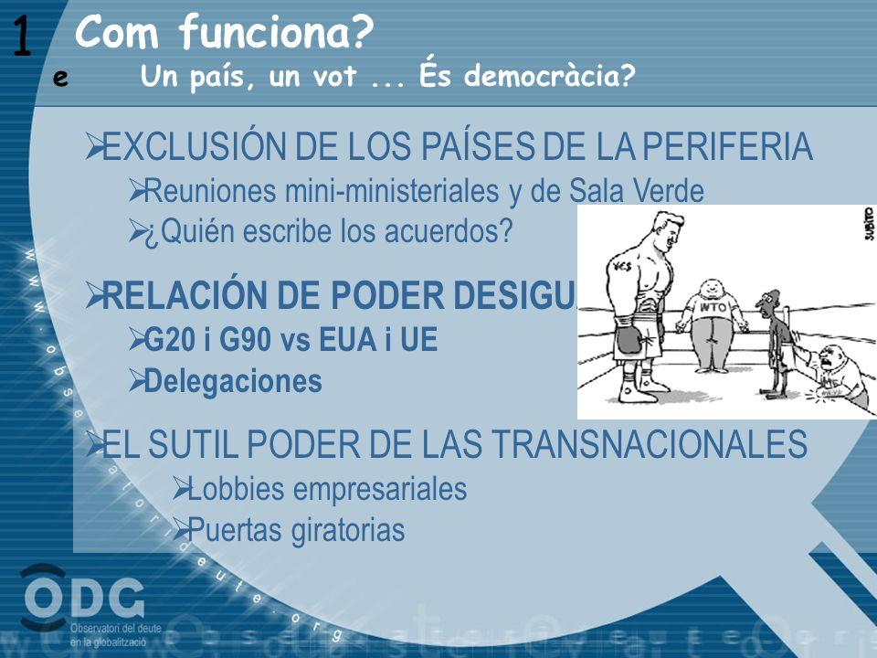 Com funciona? 1 Un país, un vot... És democràcia? e EXCLUSIÓN DE LOS PAÍSES DE LA PERIFERIA Reuniones mini-ministeriales y de Sala Verde ¿Quién escrib