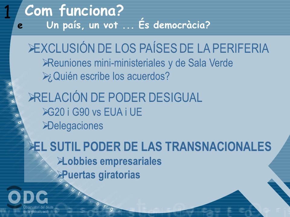 1 Un país, un vot... És democràcia? e EXCLUSIÓN DE LOS PAÍSES DE LA PERIFERIA Reuniones mini-ministeriales y de Sala Verde ¿Quién escribe los acuerdos