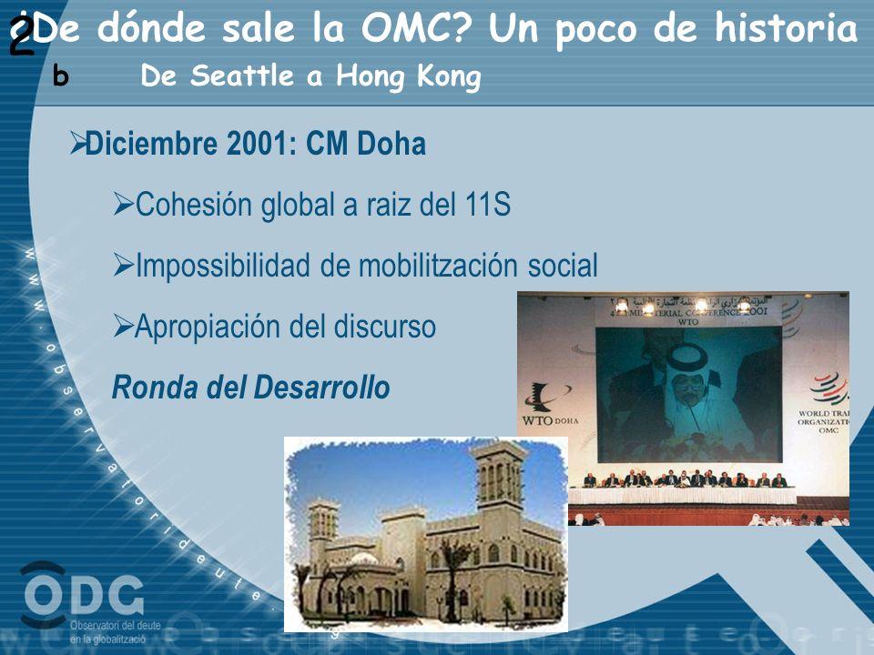 ¿De dónde sale la OMC? Un poco de historia Diciembre 2001: CM Doha Cohesión global a raiz del 11S Impossibilidad de mobilitzación social Apropiación d