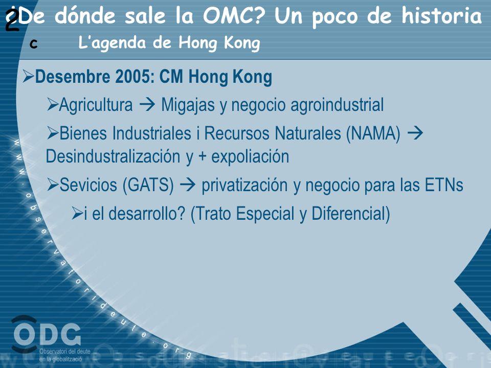 ¿De dónde sale la OMC? Un poco de historia 2 Lagenda de Hong Kong c Desembre 2005: CM Hong Kong Agricultura Migajas y negocio agroindustrial Bienes In