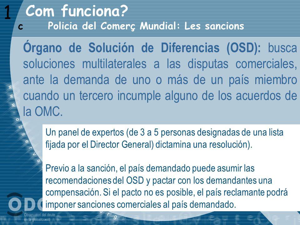 1 Policia del Comerç Mundial: Les sancions c Órgano de Solución de Diferencias (OSD): busca soluciones multilaterales a las disputas comerciales, ante