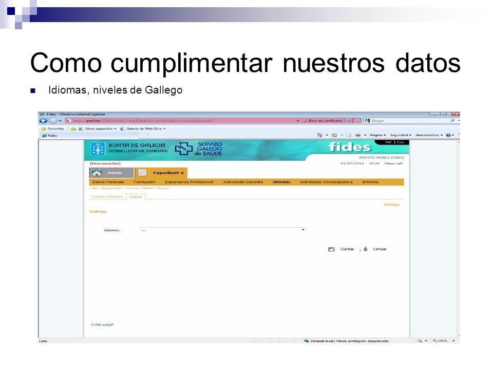 Como cumplimentar nuestros datos Idiomas, niveles de Gallego