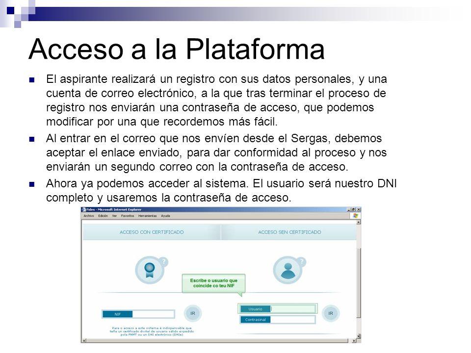 Acceso a la Plataforma El aspirante realizará un registro con sus datos personales, y una cuenta de correo electrónico, a la que tras terminar el proc