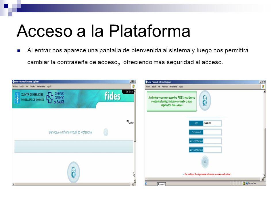 Acceso a la Plataforma Al entrar nos aparece una pantalla de bienvenida al sistema y luego nos permitirá cambiar la contraseña de acceso, ofreciendo m