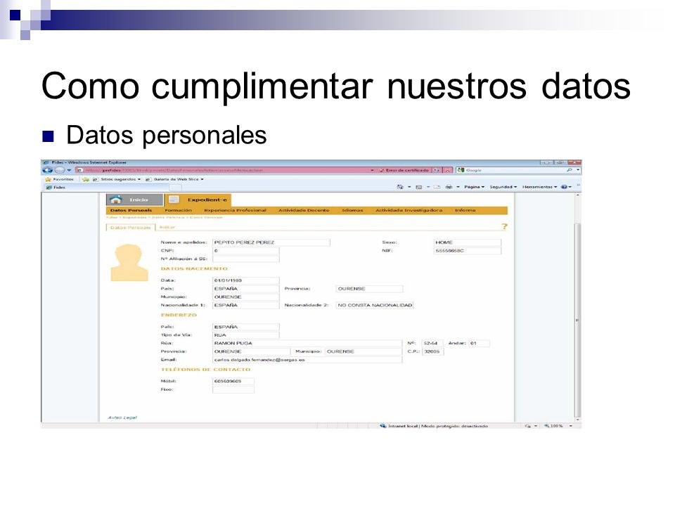 Como cumplimentar nuestros datos Datos personales