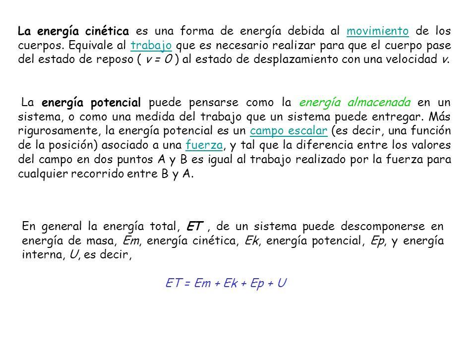 donde Em = mc2 Ec = ½mv2 La energía potencial depende de los campos externos a los que está sometido el sistema y viene dada por una función de la posición, y la energía interna U que considera la energía de las partículas que constituyen el sistema y sus interacciones a corta distancia.