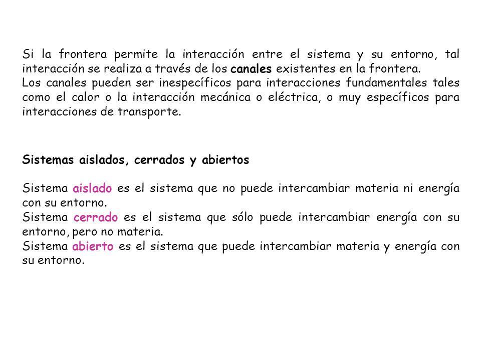 Si la frontera permite la interacción entre el sistema y su entorno, tal interacción se realiza a través de los canales existentes en la frontera. Los