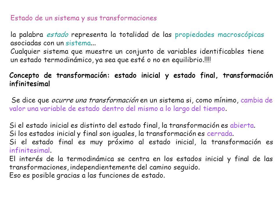 Transformaciones reversibles e irreversibles Una transformación es reversible si se realiza mediante una sucesión de estados de equilibrio del sistema con su entorno y es posible devolver al sistema y su entorno al estado inicial por el mismo camino.