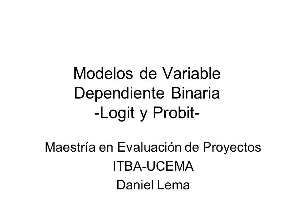 Modelos Logit y Probit Modelos de regresión donde la variable dependiente es binaria o dummy Por ejemplo: Un modelo que trata de explicar los factores determinantes de que una familia sea propietaria de una casa.