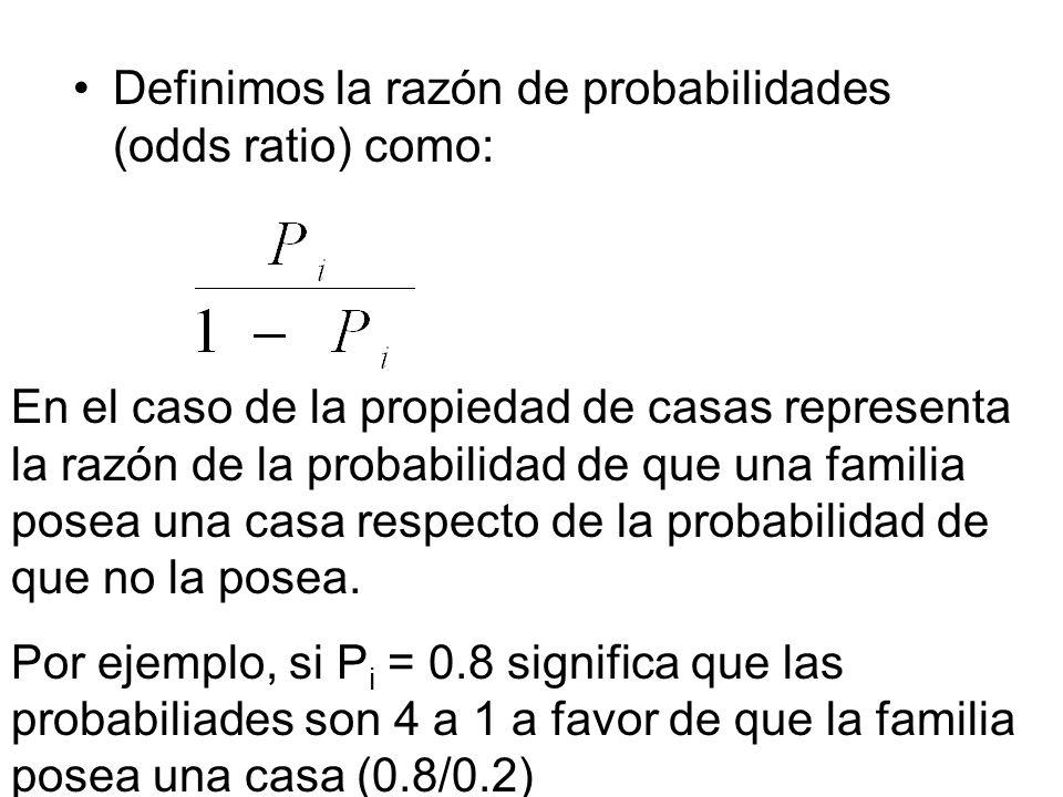 Definimos la razón de probabilidades (odds ratio) como: En el caso de la propiedad de casas representa la razón de la probabilidad de que una familia