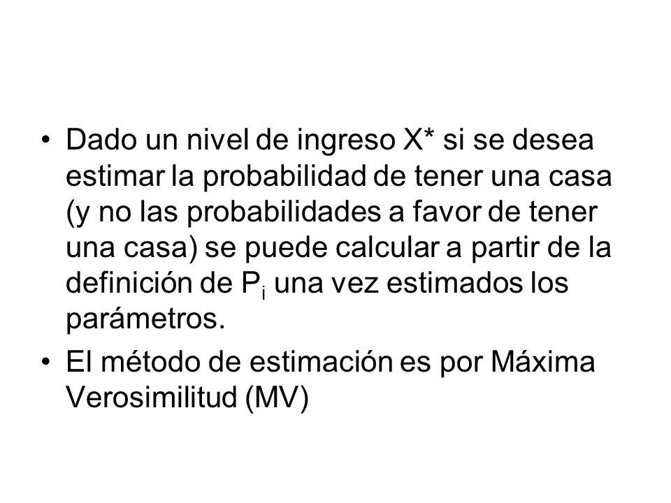 Dado un nivel de ingreso X* si se desea estimar la probabilidad de tener una casa (y no las probabilidades a favor de tener una casa) se puede calcula