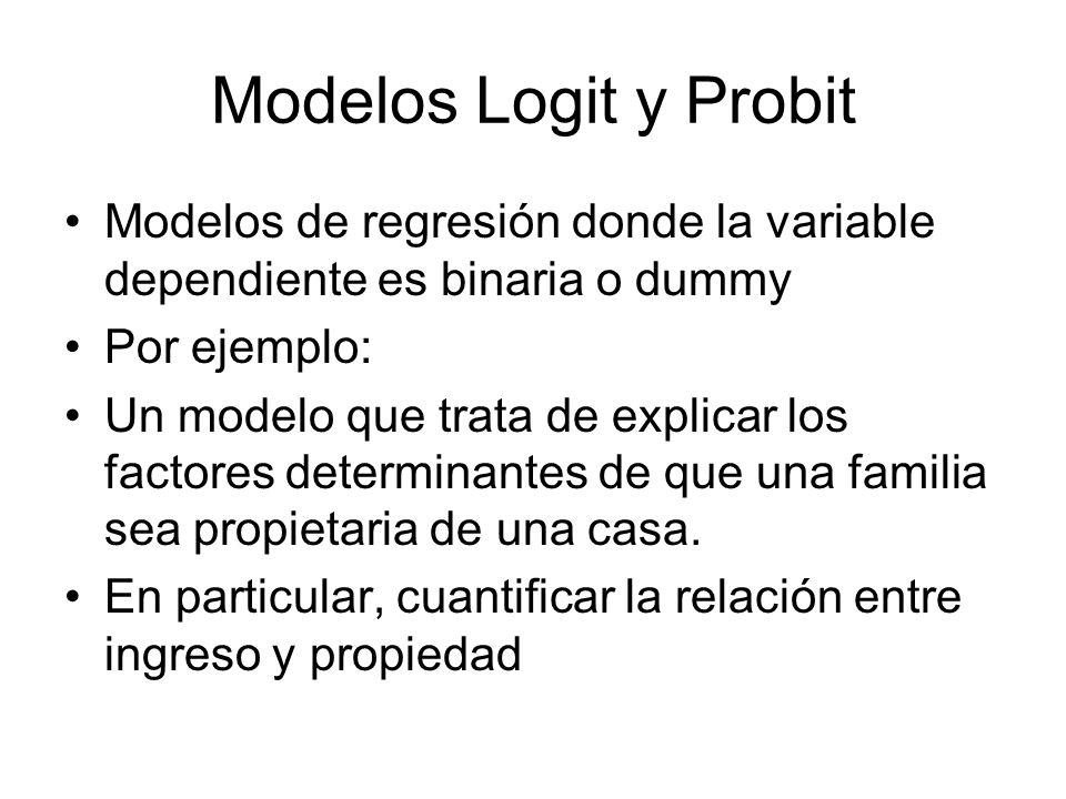 Modelos Logit y Probit Modelos de regresión donde la variable dependiente es binaria o dummy Por ejemplo: Un modelo que trata de explicar los factores