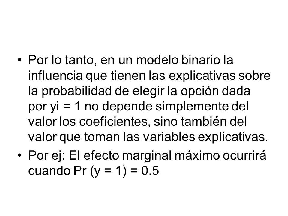 Por lo tanto, en un modelo binario la influencia que tienen las explicativas sobre la probabilidad de elegir la opción dada por yi = 1 no depende simp