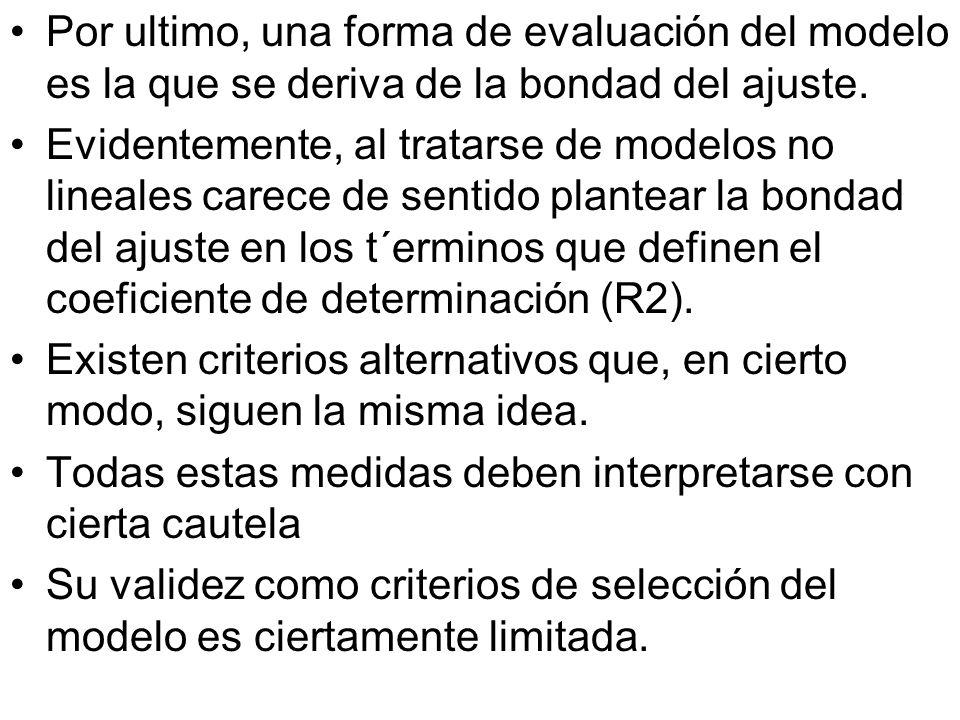 Por ultimo, una forma de evaluación del modelo es la que se deriva de la bondad del ajuste. Evidentemente, al tratarse de modelos no lineales carece d