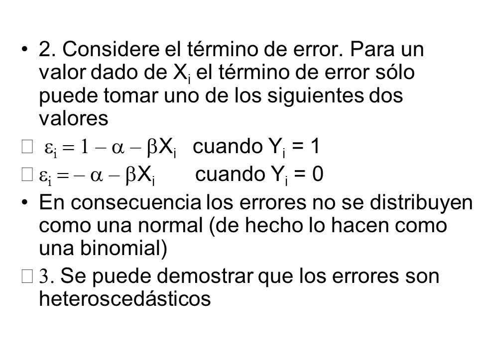 2. Considere el término de error. Para un valor dado de X i el término de error sólo puede tomar uno de los siguientes dos valores i – – X i cuando Y