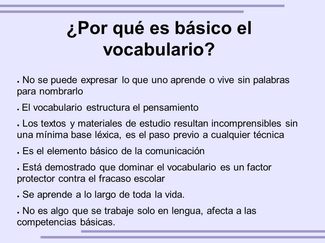 ¿Por qué es básico el vocabulario? No se puede expresar lo que uno aprende o vive sin palabras para nombrarlo El vocabulario estructura el pensamiento
