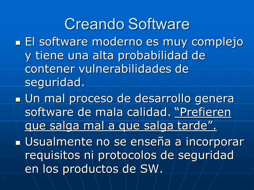 Creando Software El software moderno es muy complejo y tiene una alta probabilidad de contener vulnerabilidades de seguridad. El software moderno es m