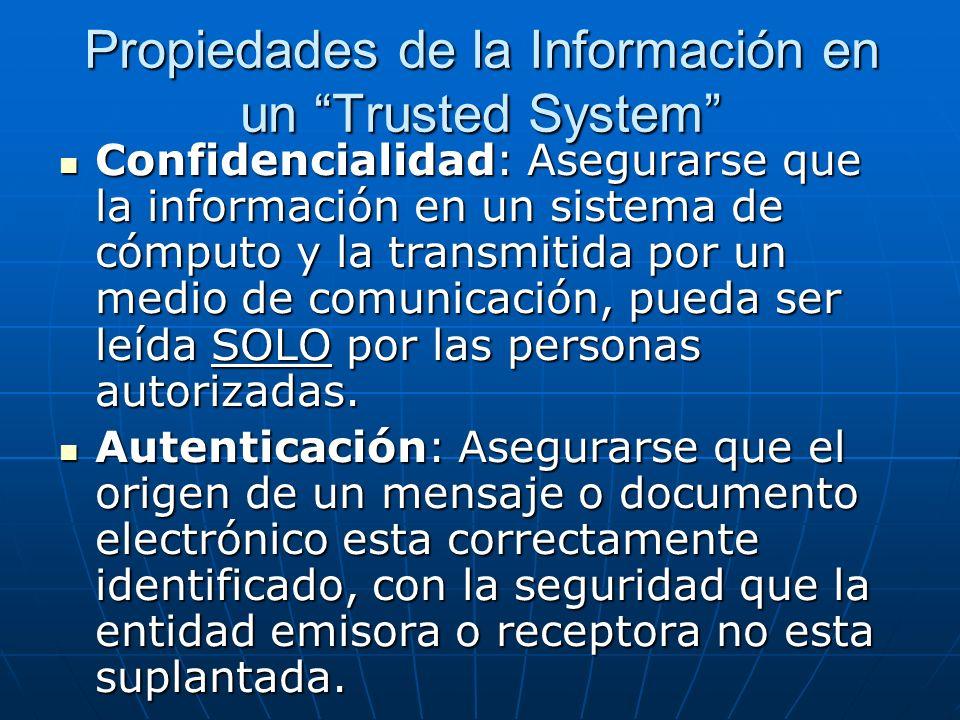 Propiedades de la Información en un Trusted System Confidencialidad: Asegurarse que la información en un sistema de cómputo y la transmitida por un me