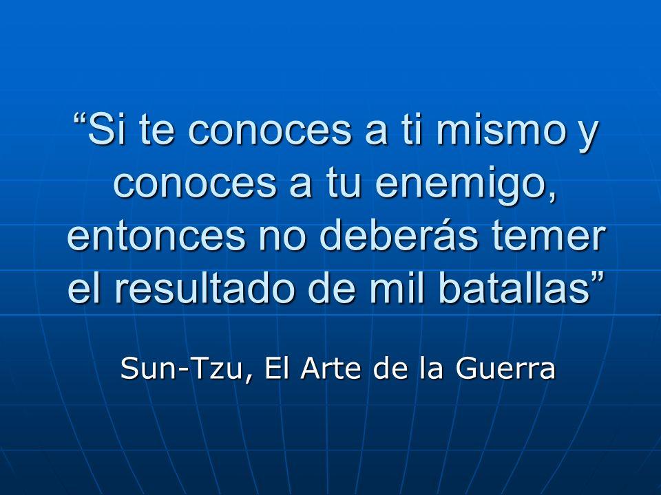 Si te conoces a ti mismo y conoces a tu enemigo, entonces no deberás temer el resultado de mil batallas Sun-Tzu, El Arte de la Guerra
