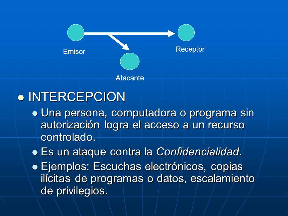 INTERCEPCION INTERCEPCION Una persona, computadora o programa sin autorización logra el acceso a un recurso controlado. Una persona, computadora o pro