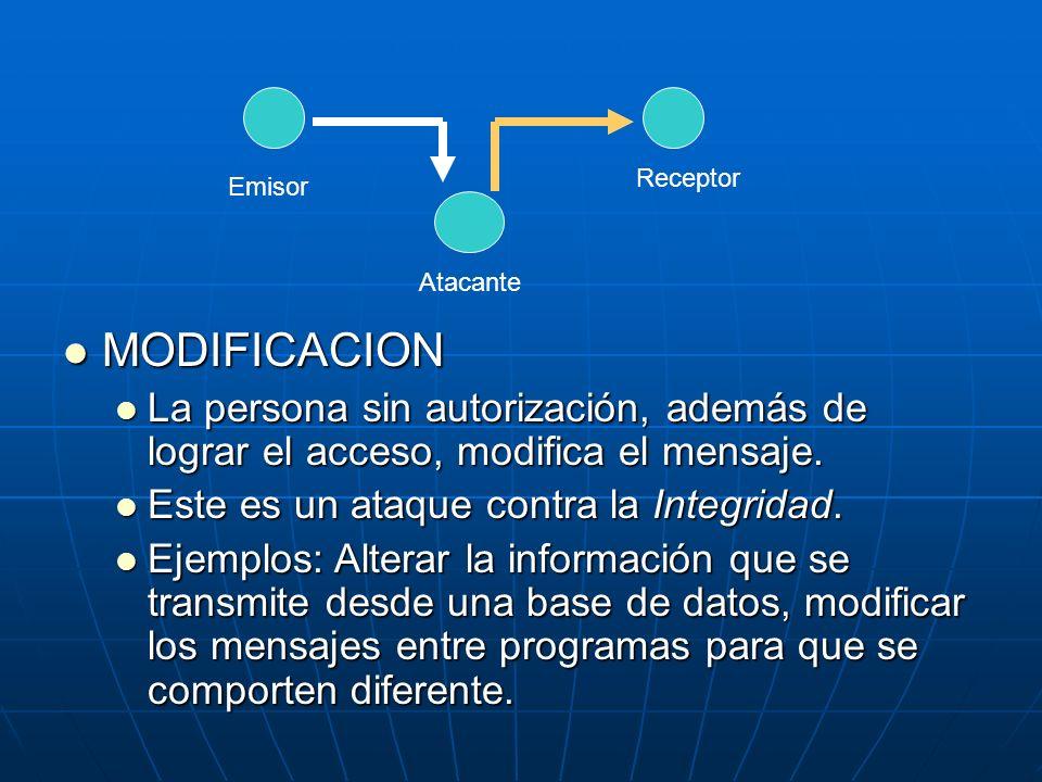 MODIFICACION MODIFICACION La persona sin autorización, además de lograr el acceso, modifica el mensaje. La persona sin autorización, además de lograr