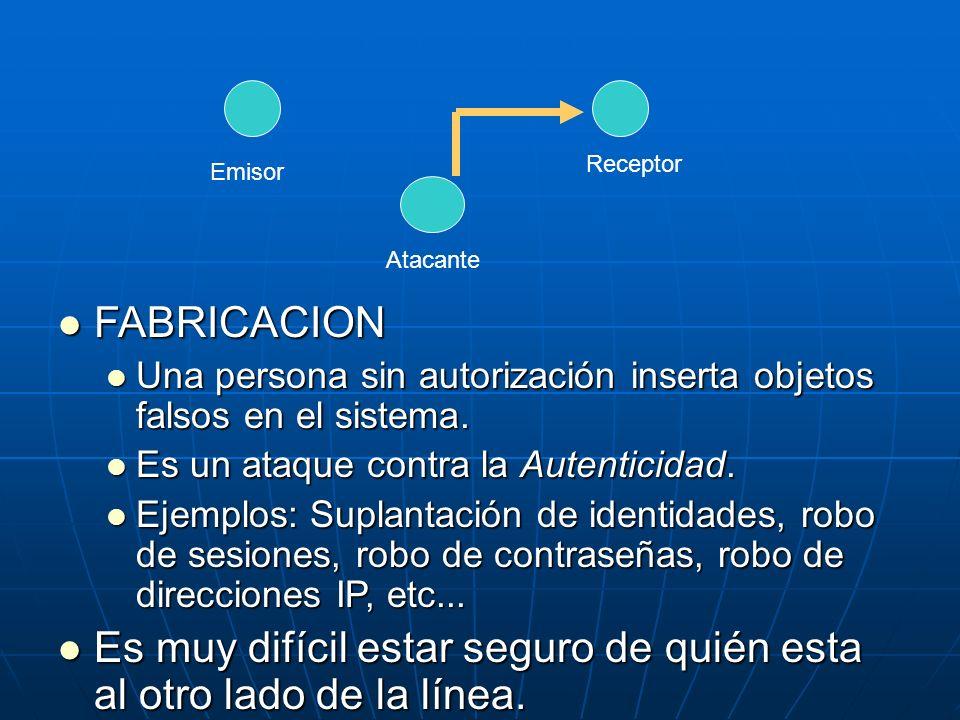 FABRICACION FABRICACION Una persona sin autorización inserta objetos falsos en el sistema. Una persona sin autorización inserta objetos falsos en el s
