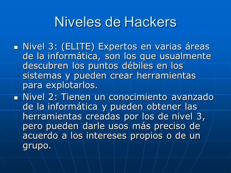 Niveles de Hackers Nivel 3: (ELITE) Expertos en varias áreas de la informática, son los que usualmente descubren los puntos débiles en los sistemas y