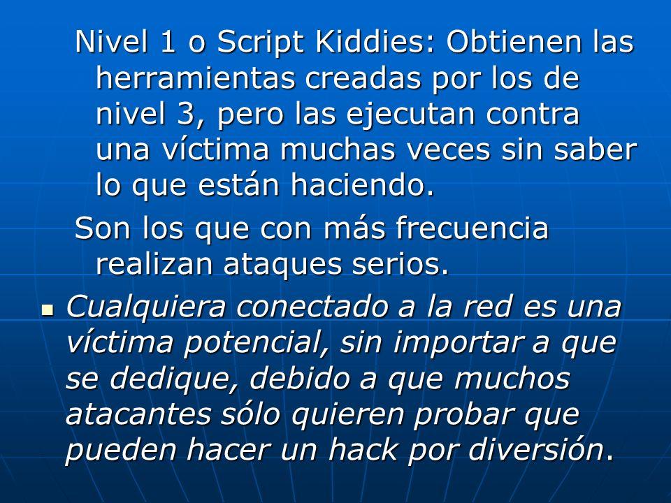 Nivel 1 o Script Kiddies: Obtienen las herramientas creadas por los de nivel 3, pero las ejecutan contra una víctima muchas veces sin saber lo que est