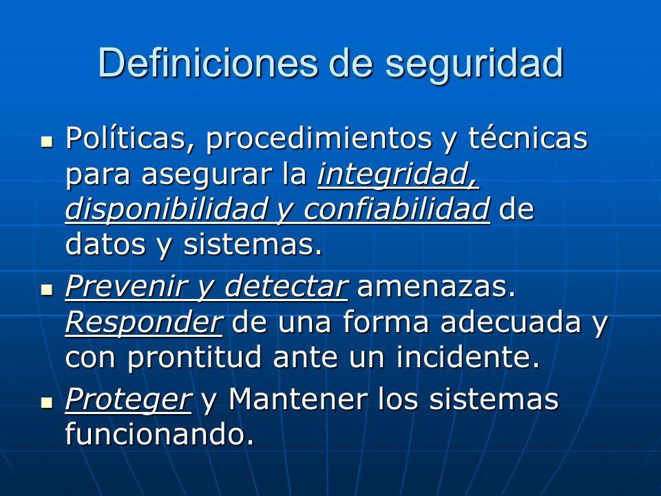 Definiciones de seguridad Políticas, procedimientos y técnicas para asegurar la integridad, disponibilidad y confiabilidad de datos y sistemas. Políti