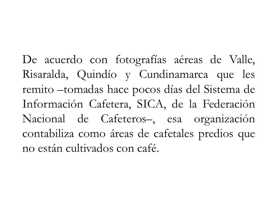 De acuerdo con fotografías aéreas de Valle, Risaralda, Quindío y Cundinamarca que les remito –tomadas hace pocos días del Sistema de Información Cafetera, SICA, de la Federación Nacional de Cafeteros–, esa organización contabiliza como áreas de cafetales predios que no están cultivados con café.