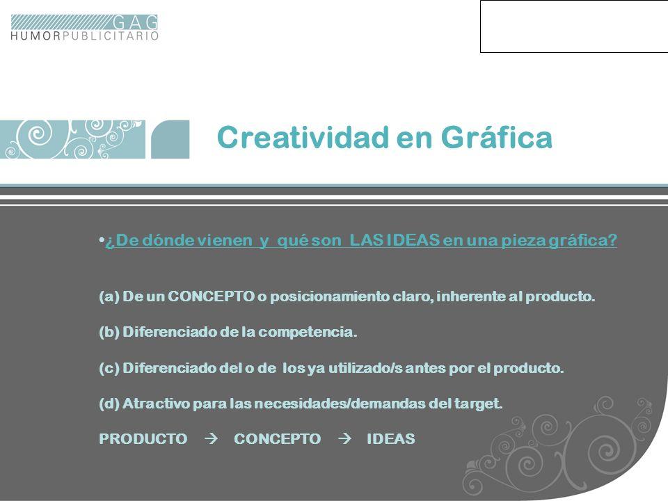 Creatividad en Gráfica ¿De dónde vienen y qué son LAS IDEAS en una pieza gráfica? (a) De un CONCEPTO o posicionamiento claro, inherente al producto. (