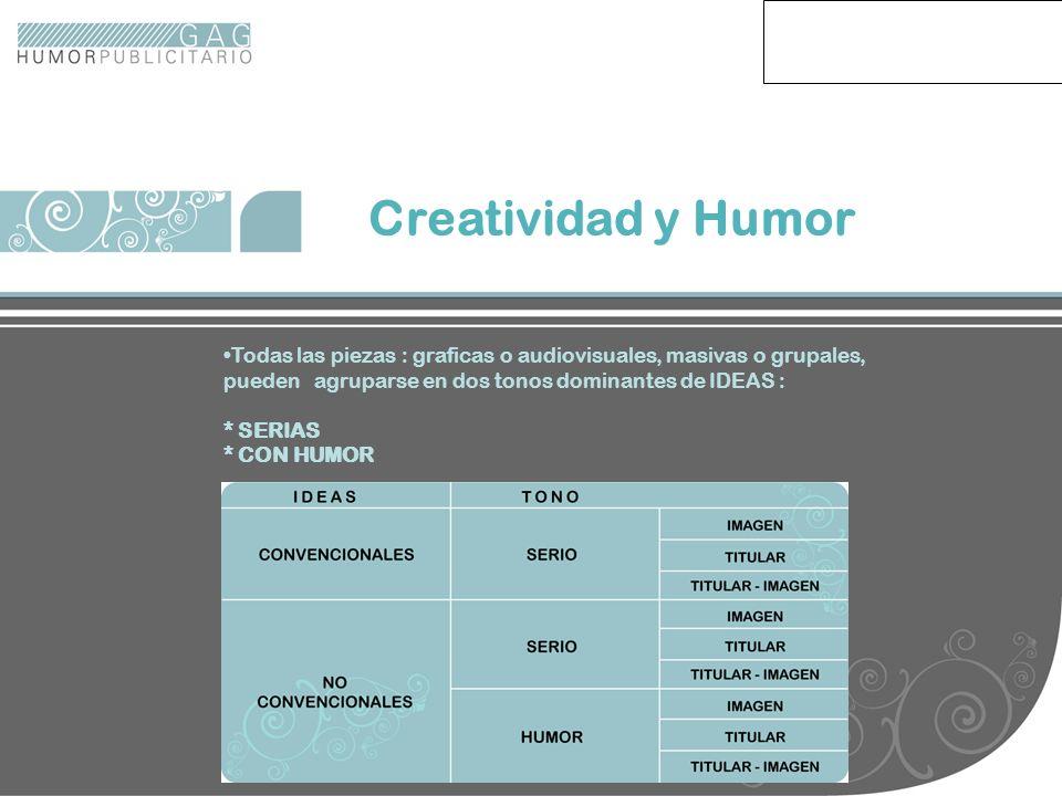 Creatividad en Gráfica Creatividad y Humor Todas las piezas : graficas o audiovisuales, masivas o grupales, pueden agruparse en dos tonos dominantes d