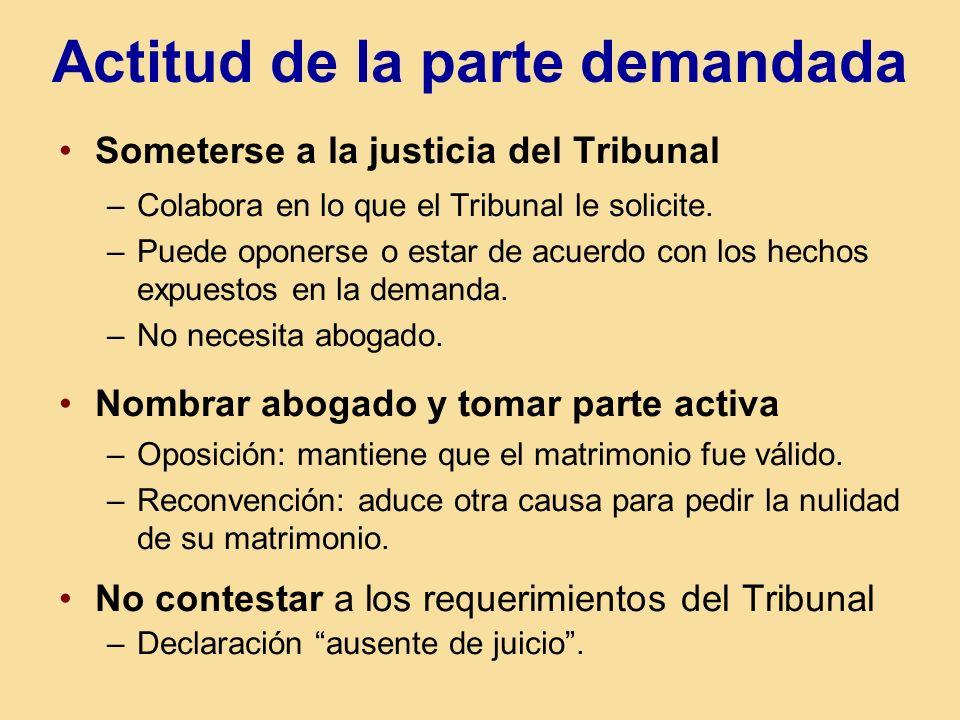 Actitud de la parte demandada Someterse a la justicia del Tribunal –Colabora en lo que el Tribunal le solicite. –Puede oponerse o estar de acuerdo con