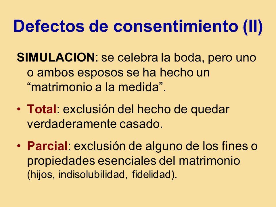 Defectos de consentimiento (II) SIMULACION: se celebra la boda, pero uno o ambos esposos se ha hecho un matrimonio a la medida. Total: exclusión del h