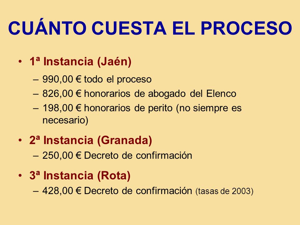 CUÁNTO CUESTA EL PROCESO 1ª Instancia (Jaén) –990,00 todo el proceso –826,00 honorarios de abogado del Elenco –198,00 honorarios de perito (no siempre es necesario) 2ª Instancia (Granada) –250,00 Decreto de confirmación 3ª Instancia (Rota) –428,00 Decreto de confirmación (tasas de 2003)
