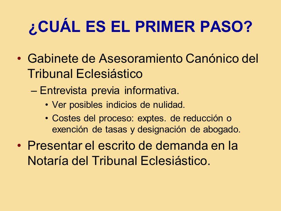 ¿CUÁL ES EL PRIMER PASO? Gabinete de Asesoramiento Canónico del Tribunal Eclesiástico –Entrevista previa informativa. Ver posibles indicios de nulidad