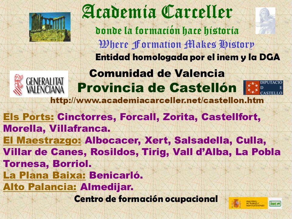 Academia Carceller Els Ports: Cinctorres, Forcall, Zorita, Castellfort, Morella, Villafranca.