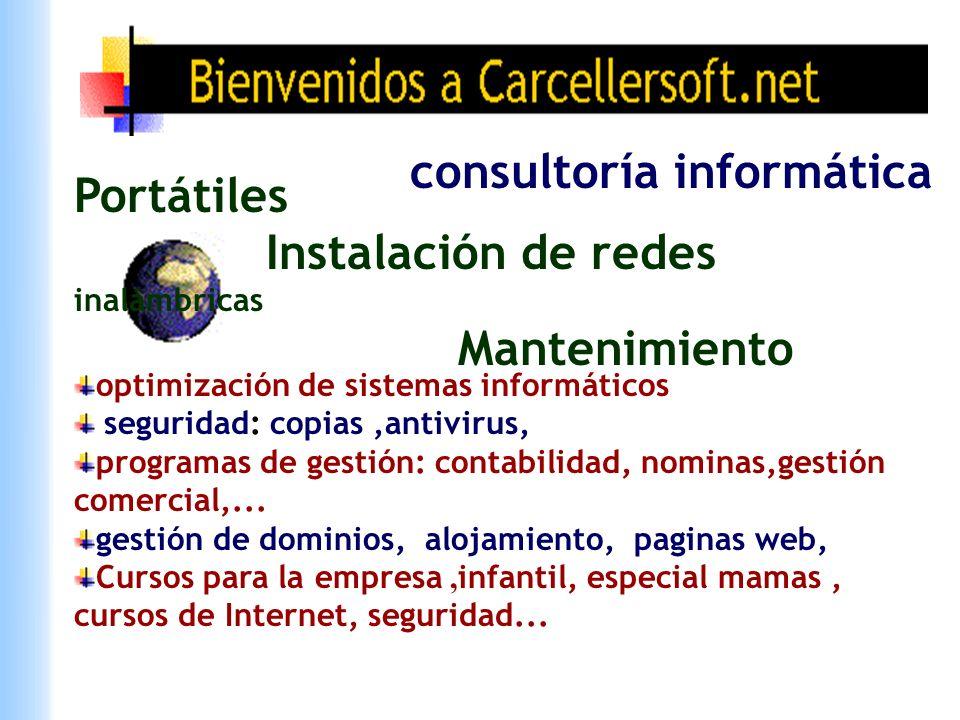 Portátiles Instalación de redes inalámbricas Mantenimiento consultoría informática optimización de sistemas informáticos seguridad: copias,antivirus, programas de gestión: contabilidad, nominas,gestión comercial,...