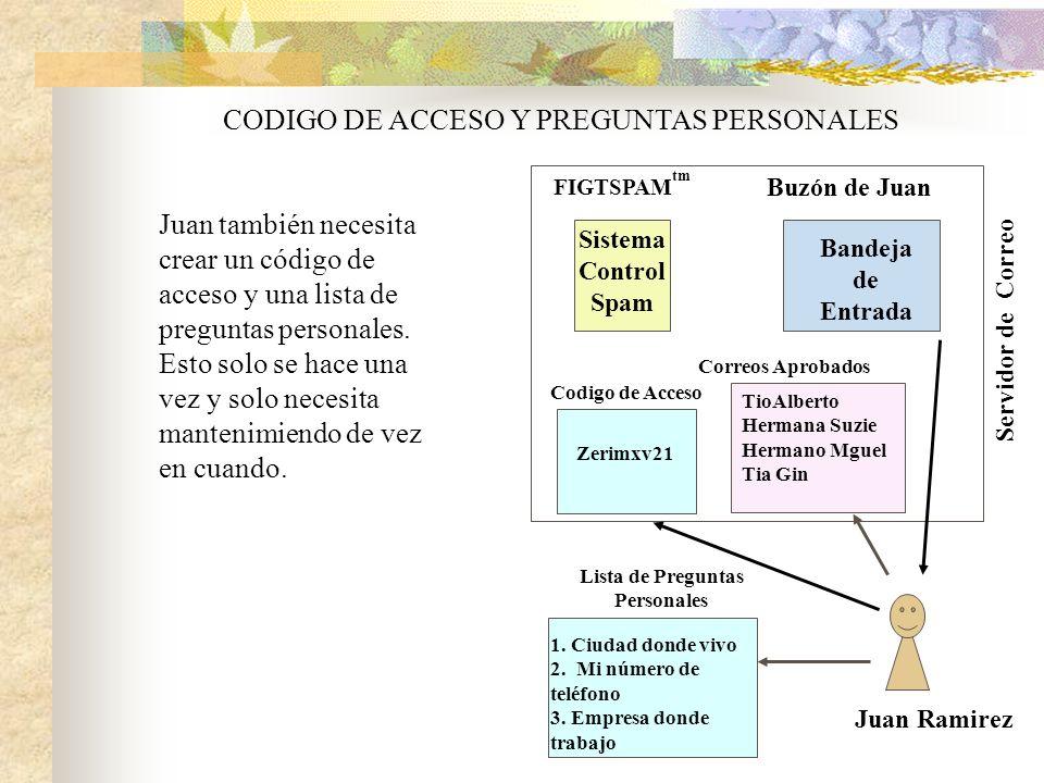 Juan Ramirez Buzón de Juan FIGTSPAM tm Servidor de Correo Bandeja de Entrada CODIGO DE ACCESO Y PREGUNTAS PERSONALES Juan también necesita crear un código de acceso y una lista de preguntas personales.