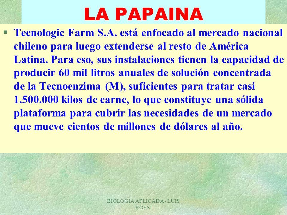 BIOLOGIA APLICADA - LUIS ROSSI LA PAPAINA §Tecnologic Farm S.A. está enfocado al mercado nacional chileno para luego extenderse al resto de América La