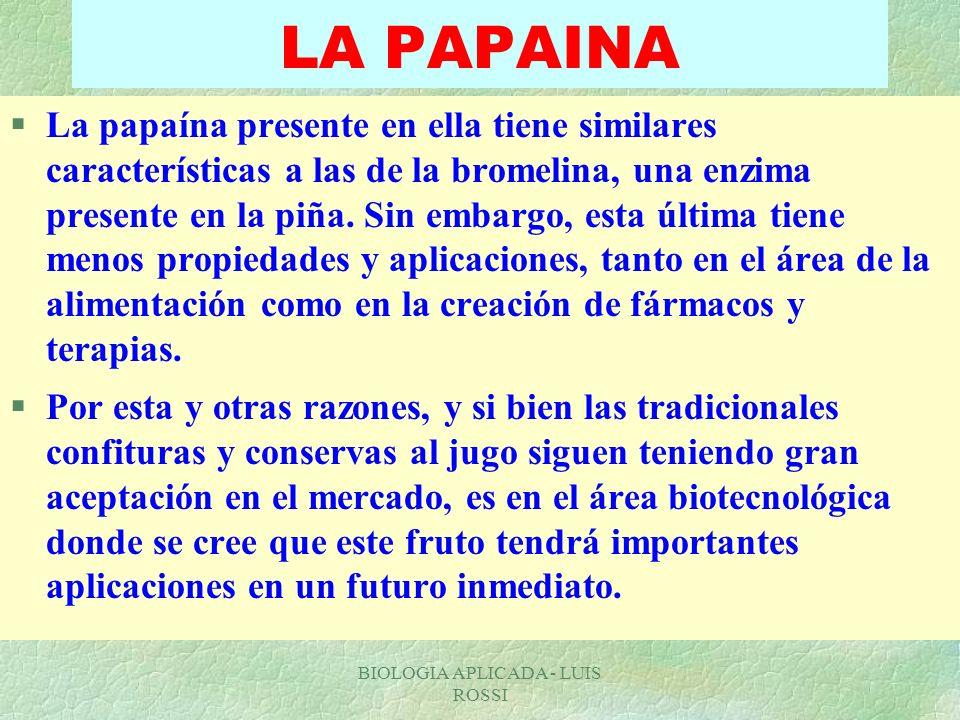 BIOLOGIA APLICADA - LUIS ROSSI LA PAPAINA §La papaína presente en ella tiene similares características a las de la bromelina, una enzima presente en l
