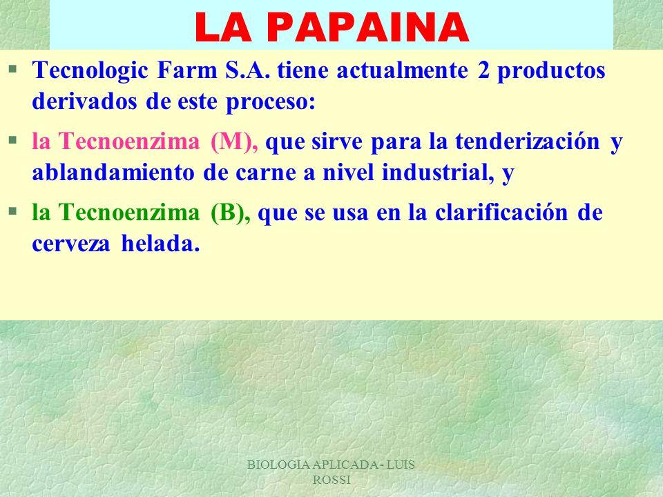 BIOLOGIA APLICADA - LUIS ROSSI LA PAPAINA §Tecnologic Farm S.A. tiene actualmente 2 productos derivados de este proceso: §la Tecnoenzima (M), que sirv