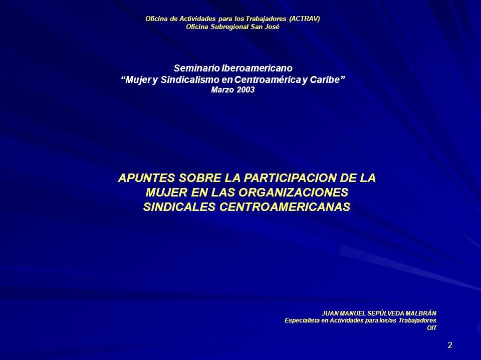 2 Oficina de Actividades para los Trabajadores (ACTRAV) Oficina Subregional San José Seminario Iberoamericano Mujer y Sindicalismo en Centroamérica y