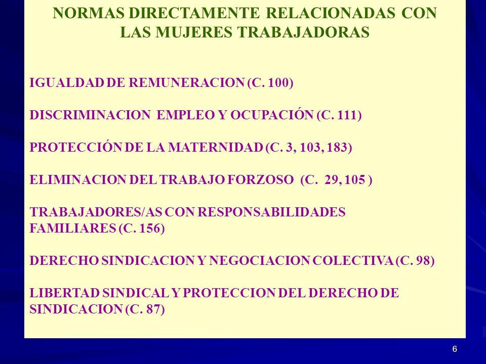 6 NORMAS DIRECTAMENTE RELACIONADAS CON LAS MUJERES TRABAJADORAS IGUALDAD DE REMUNERACION (C. 100) DISCRIMINACION EMPLEO Y OCUPACIÓN (C. 111) PROTECCIÓ