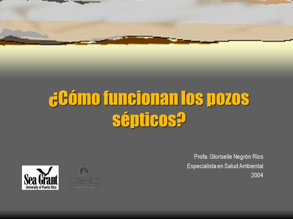 ¿Cómo funcionan los pozos sépticos? Profa. Gloriselle Negrón Ríos Especialista en Salud Ambiental 2004