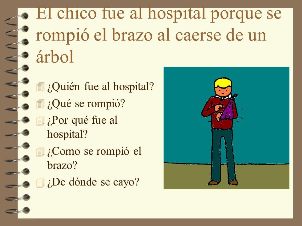El chico fue al hospital porque se rompió el brazo al caerse de un árbol 4 ¿Quién fue al hospital? 4 ¿Qué se rompió? 4 ¿Por qué fue al hospital? 4 ¿Co