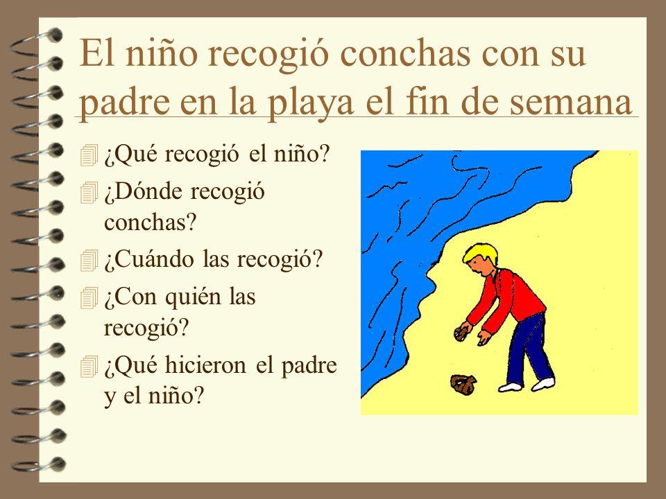 El niño recogió conchas con su padre en la playa el fin de semana 4 ¿Qué recogió el niño? 4 ¿Dónde recogió conchas? 4 ¿Cuándo las recogió? 4 ¿Con quié