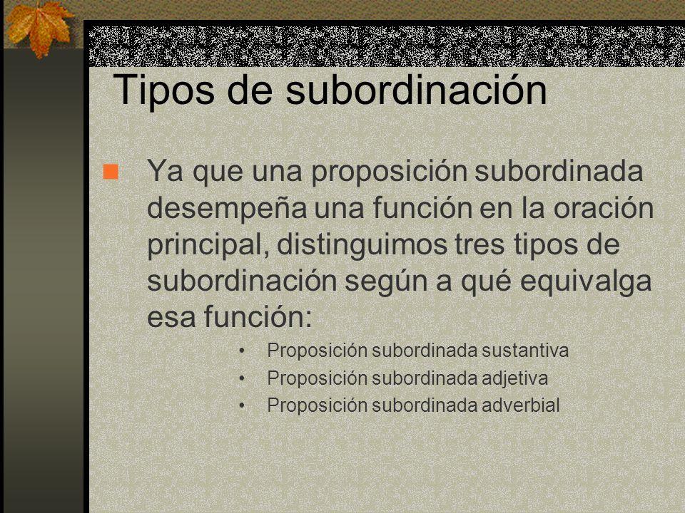 Tipos de subordinación Ya que una proposición subordinada desempeña una función en la oración principal, distinguimos tres tipos de subordinación según a qué equivalga esa función: Proposición subordinada sustantiva Proposición subordinada adjetiva Proposición subordinada adverbial