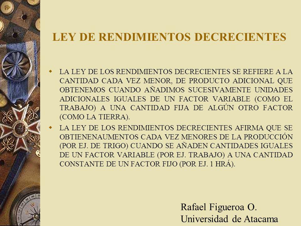 LEY DE RENDIMIENTOS DECRECIENTES LA LEY DE LOS RENDIMIENTOS DECRECIENTES SE REFIERE A LA CANTIDAD CADA VEZ MENOR, DE PRODUCTO ADICIONAL QUE OBTENEMOS